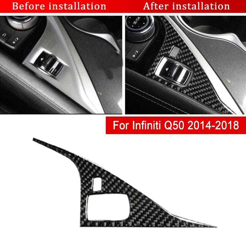 For Infiniti Q50 Q50L 2014-2018 Carbon Fiber Inner Gear Shift Knob Cover Trim