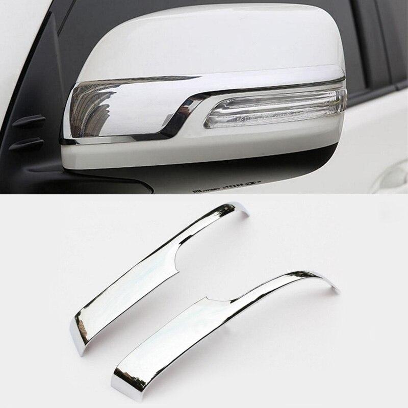 2PCS Chrome Rearview Mirror Decorative Trim For Toyota Prado FJ150 2010-2016