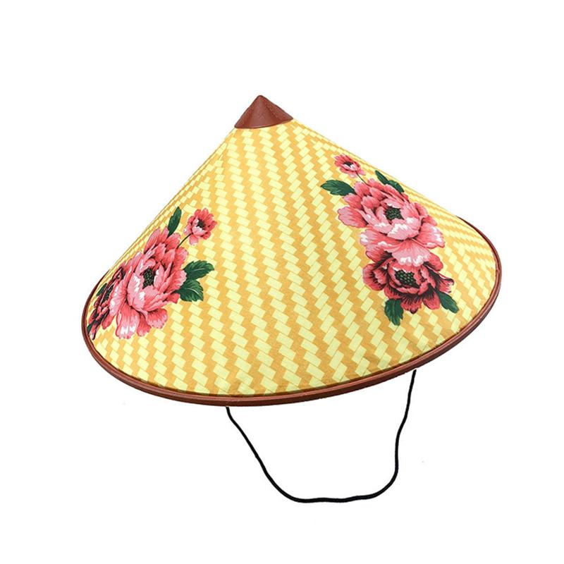 Large Bamboo Coolie Hat with Chin Cord Natural Asian Conical Rice Patty Farmer