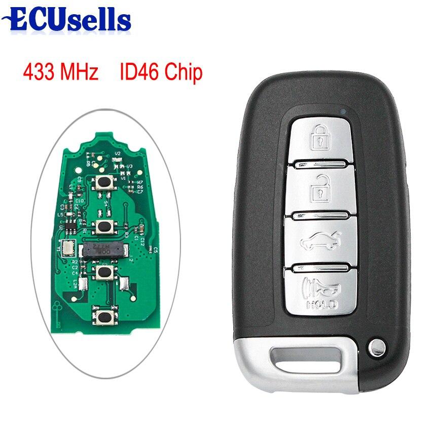 4B Smart Remote key Fob 433MHz ID46 for Kia Soul Hyundai IX35 IX45 2008-2014