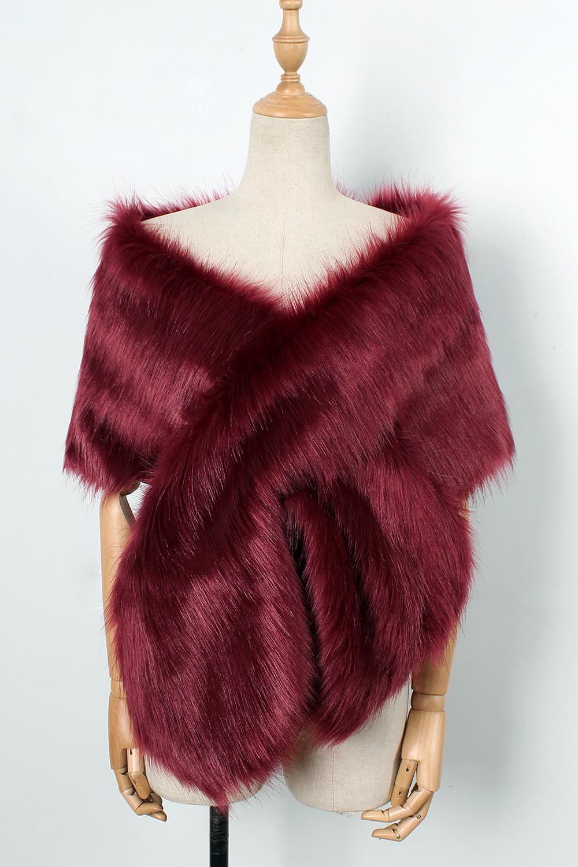 The autumn and winter new imitation fur big cape neck scarf multi-color joker scarf bride dress cross cape (18)
