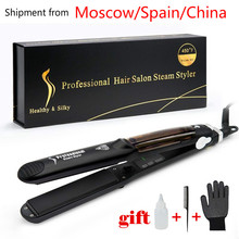 Hair-Straightener Vapor Infusion Flat-Iron-Tourmaline Ceramic Steam-Function with Argan-Oil