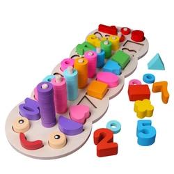 Детские деревянные игрушки Монтессори материалы учатся считать цифры соответствующие цифровой формы матч Раннее Образование Обучение Мат...