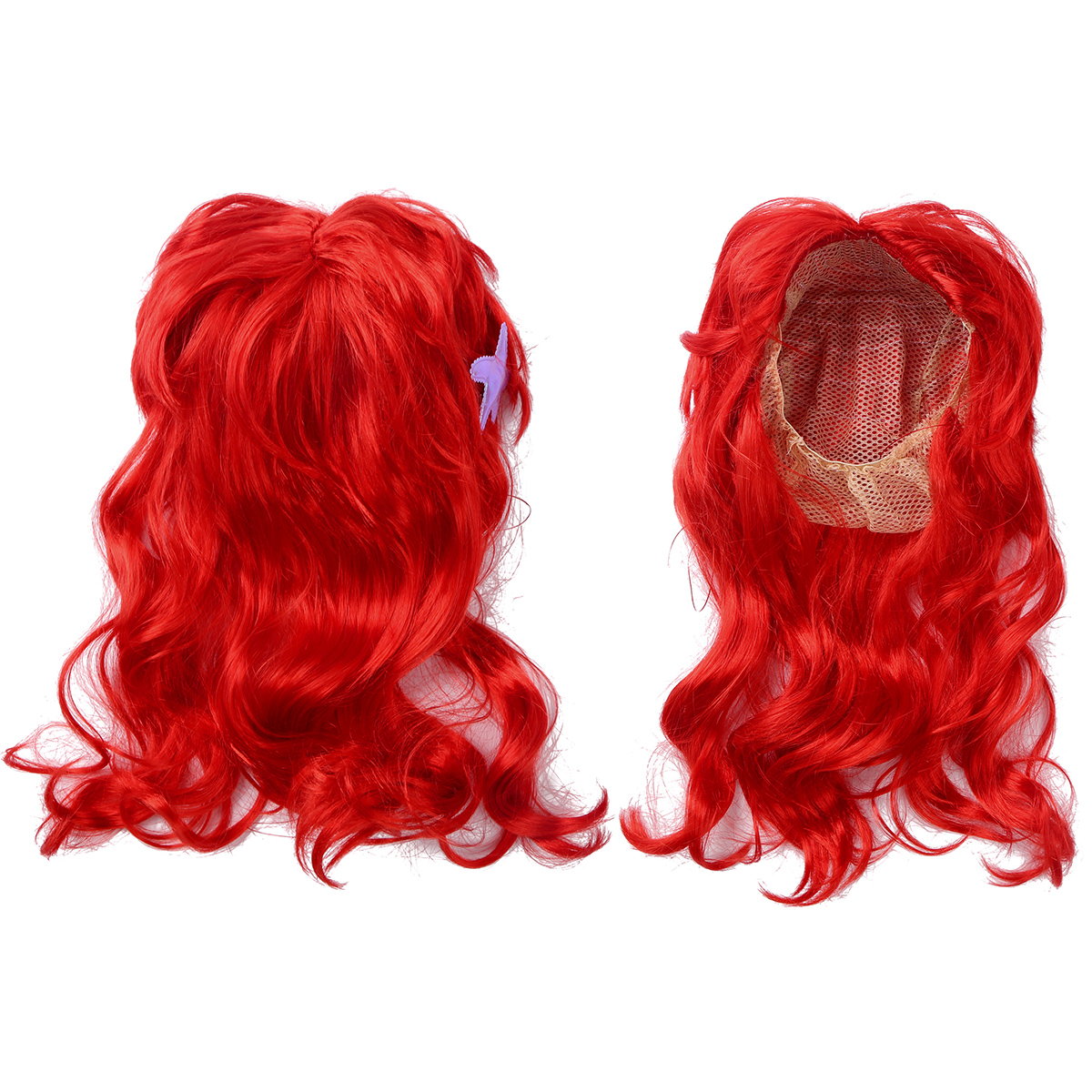 Kids Girls Princess Dress up Red Wigs Hair with Starfish Hair Clip Headwear Halloween Anime Cosplay Costume Mermaid Accessories