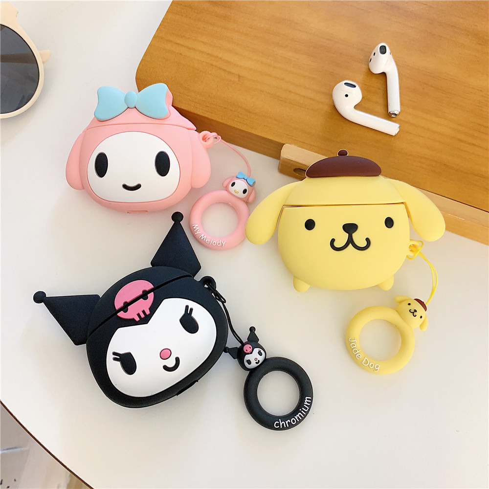 My melody Silicone earphone case For Apple Airpods 1 2 cartoon Kuromi Pompom Purin dog Ring Lanyard Hang Loop protective Cover