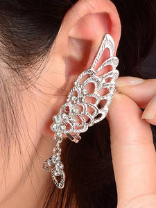 Wrap-Clip Wing-Earrings Steampunk Ear-Cuff Crystal Helix Cartilage 1PC on Bow-Tie Boucle