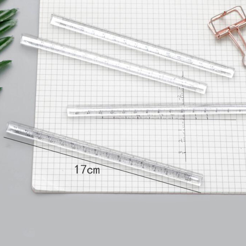 15cm Transparent Straight Ruler Students Stationery Simple Triangular Rulers Both Sides Acrylic Measuring Tools