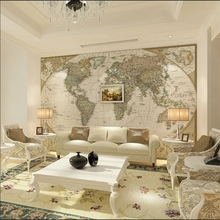Mural Wallpapers World-Map Living-Room Custom Home European The Study 3D for Office Deocr