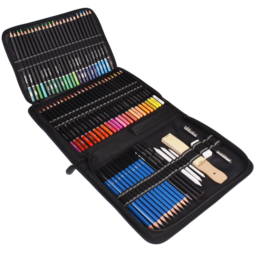 95PCS Oil Colored Pencils Set Sketch Soft Core Professional Art Supplies for Adults Artist Drawing Coloring with Carrying Case title=