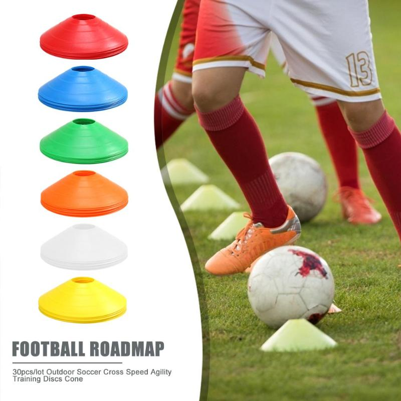 10X//Bag Cones Marker Discs Soccer Football Training Equipment Gear Available