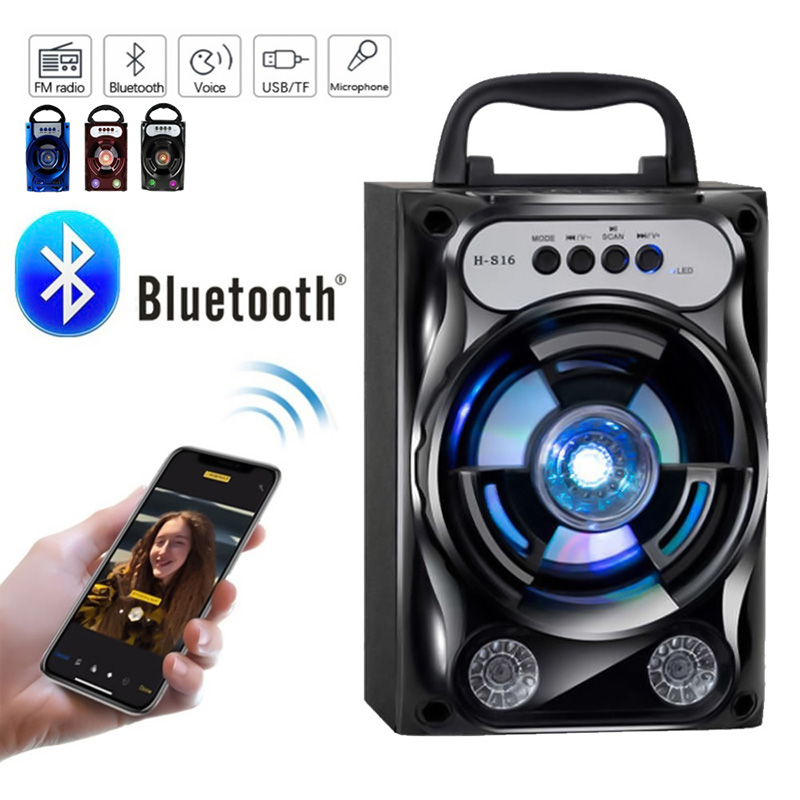 Bluetooth Speaker Sound-System Tf-Card Led-Light Fm-Radio Bass-Stereo Travel Outdoor title=