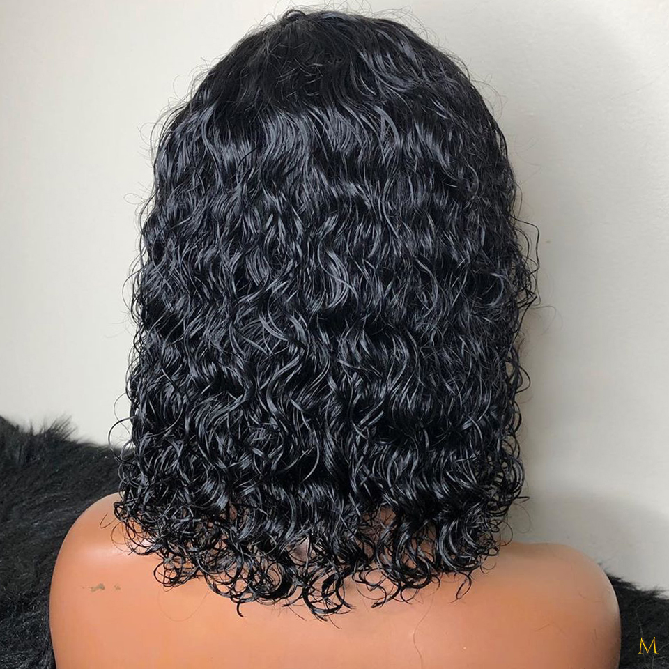 Bob Curly Wig 13*4 Lace Front Human Hair Wigs For Black Women Brazilian Remy PrePluck 130% Density Middle Ratio Bleached