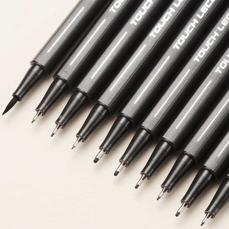 10Pcs/set Pigment Liner Micron Ink Marker Pen 0.05 0.1 0.2 0.3 0.4 0.5 Brush Tip Black Fineliner Sketching Manga Drawing Pen