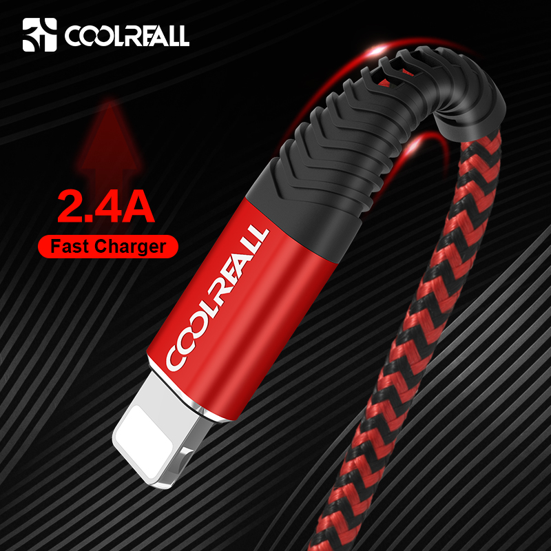 Coolreall USB Cable for iPhone 11 pro max Xr X 8 7 6 plus 6s 5 s plus iPad 2.4A Fast title=