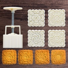 Barrel-Mooncake-Mold Stamp Cake-Decor Pastry Diy-Tool Hand-Press 4pcs 100g Festival Mid-Autumn