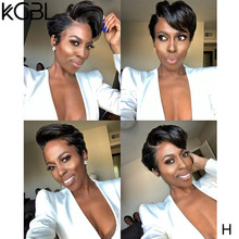 KGBL Pixie cut 13*4 Lace Front Human Hair Wigs 150% 180% Density With Baby Hair 8'' Brazilian Non-Remy Medium Ratio For Women(Китай)