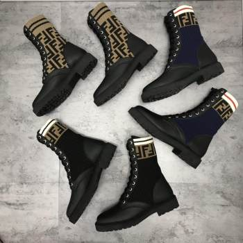 luxury shoes 2019 newest winter women martin boots high quality leather lace-up letters knit elastic ankle boots 3 colors