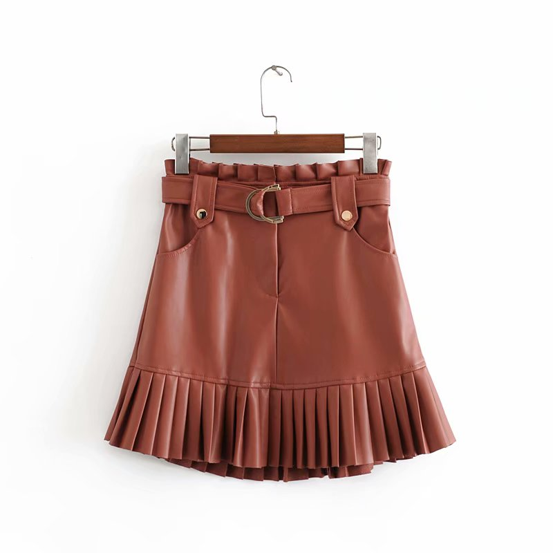 Stylish Chic Pu Leather Mini Skirt with Belt Za Fashion Women High Waist Pleated Hem Skirts Casual Streetwear Party Faldas 5