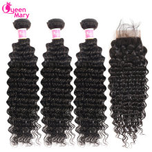 Deep-Wave-Bundles Closure Human-Hair-Extensions Non-Remy Brazilian Queen Mary with Lace