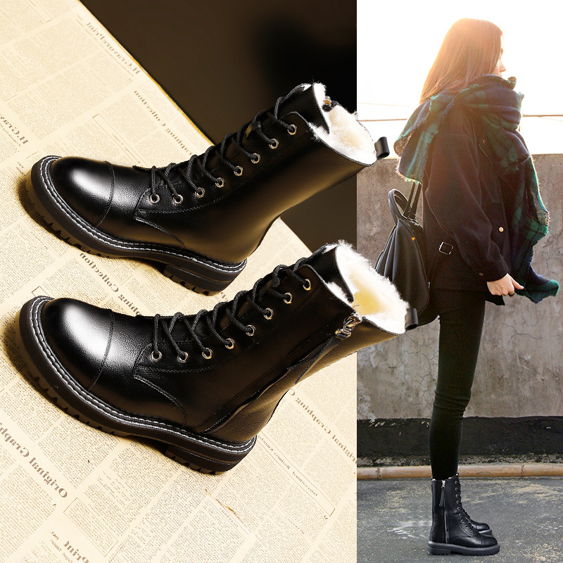Snow Boots Women 2019 New Winter Boots Female Waterproof Antiskid Martin Boots Women Fur Leather Warm Platform Boots