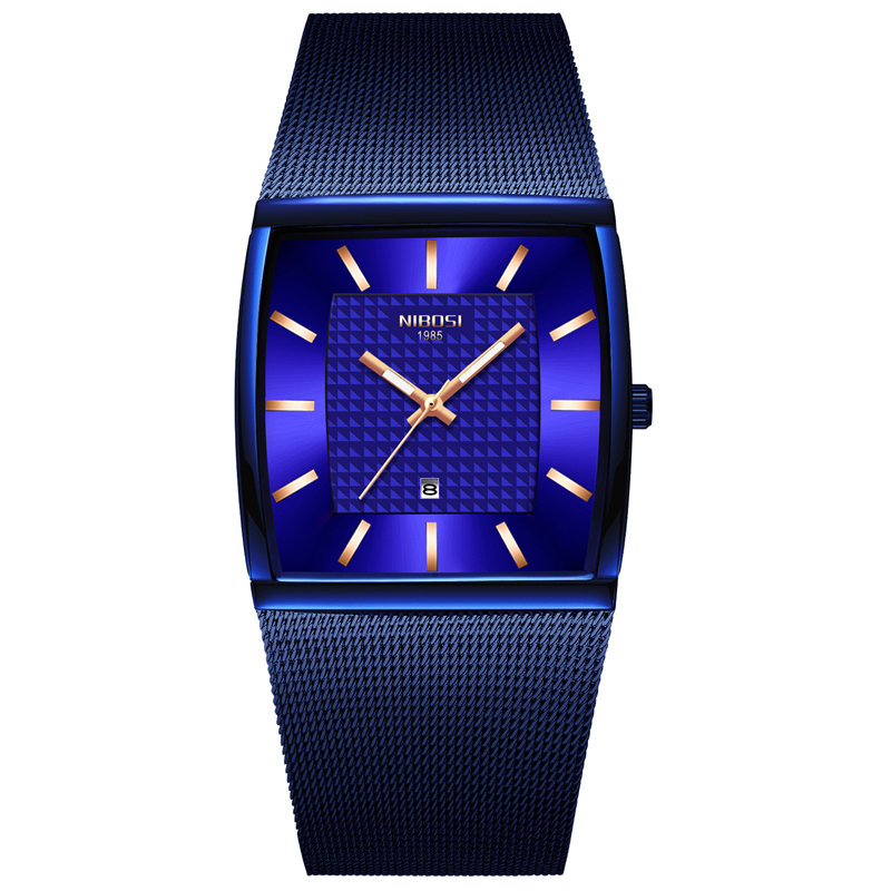 NIBOSI Mens Watches Top Brand Luxury Blue Square Quartz Watch Men Slim Waterproof Golden Male Wristwatch Men Relogio Masculino