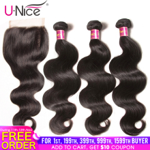 UNICE Hair Closure Body-Wave Remy Brazilian with 4PCS Human-Hair-Bundles 8-30-