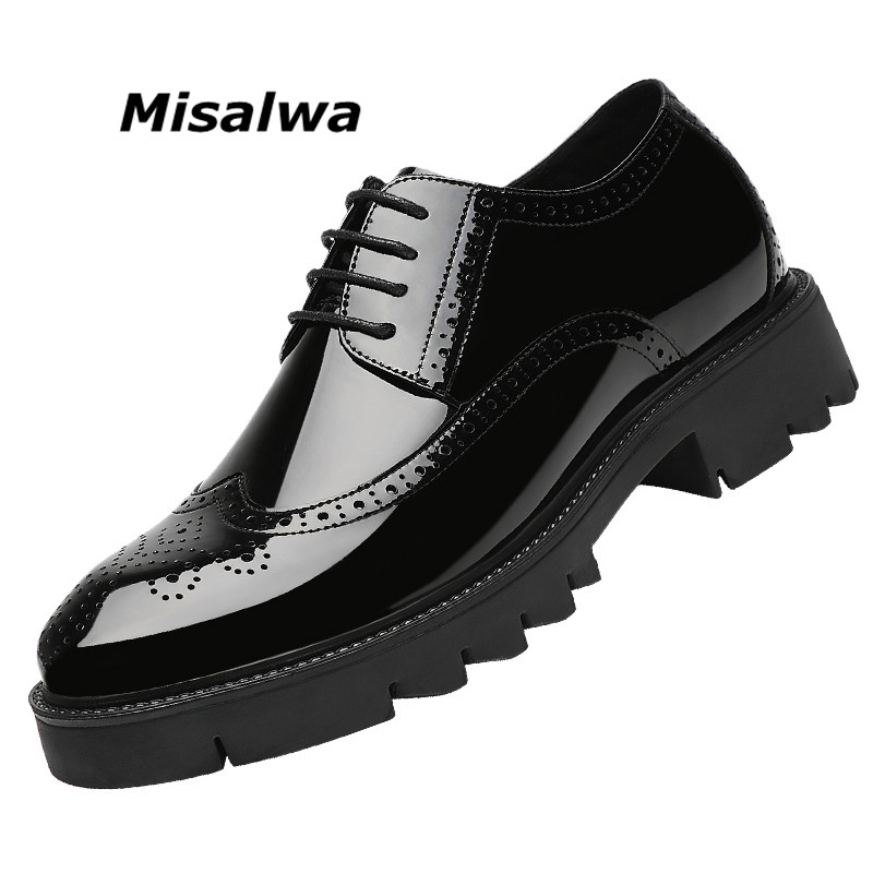 Misalwa Platform High Heel 4/7/9 CM Height Increase Casual Men Brogue Patent Leather Shoe Man Oxford Dress Shoes Elevator Formal