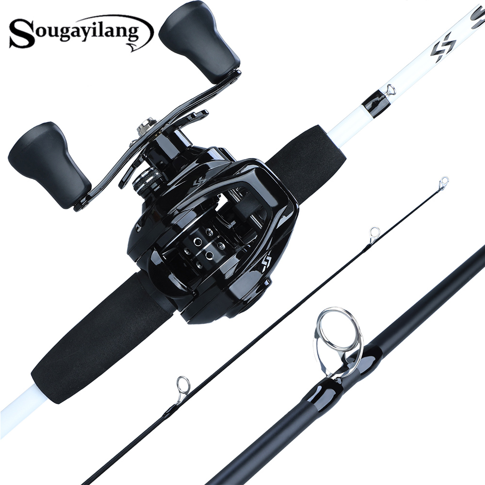 Sougayilang Fishing-Rod-Combo Baitcasting Reel with 12 1BB Pesca Pesca title=