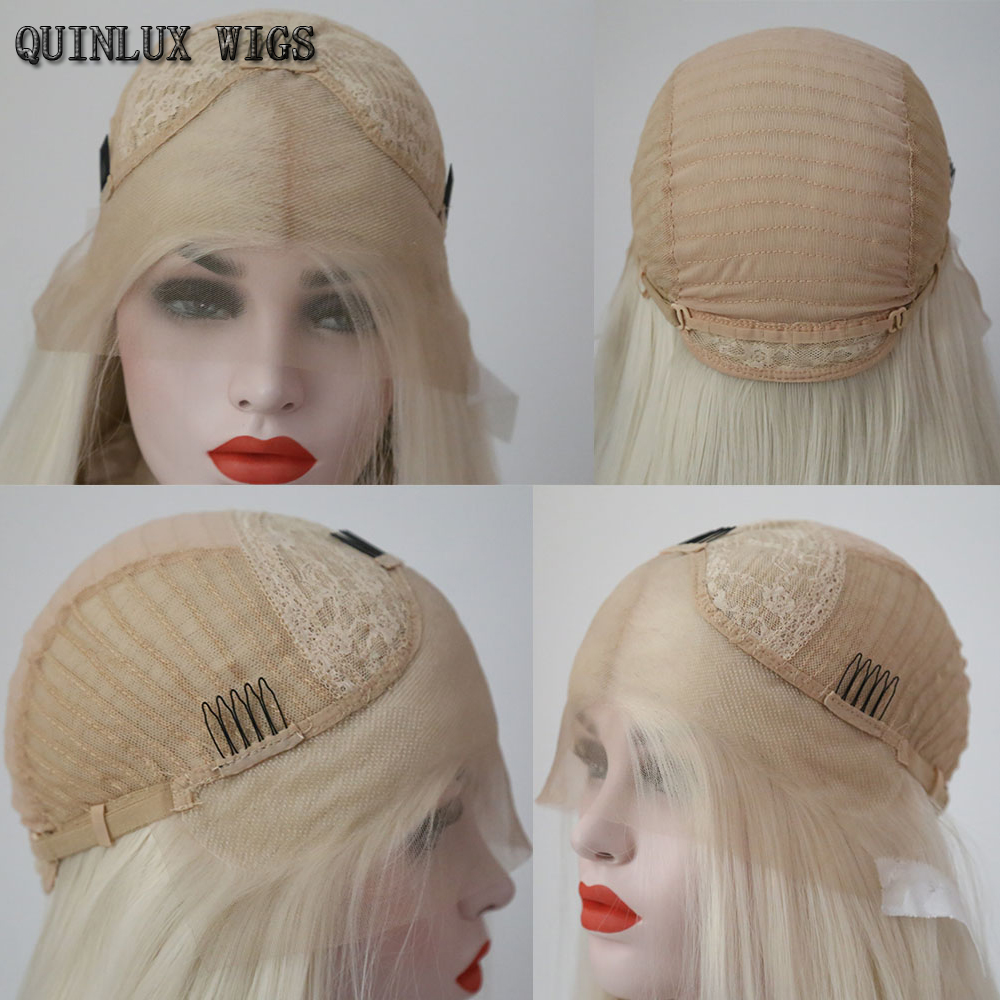 QUINLUX WIGS Sky Blue Hair Short Bob Wave Lace Wigs Synthetic Lace Front  With Natural Hairline Free Part for Women