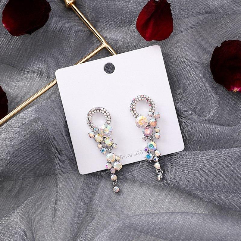 MENGJIQIAO 19 New Korean TV Star Elegant Shiny Rhinestone Drop Earrings For Women Metal Circle Crystal Oorbellen Party Jewery 10