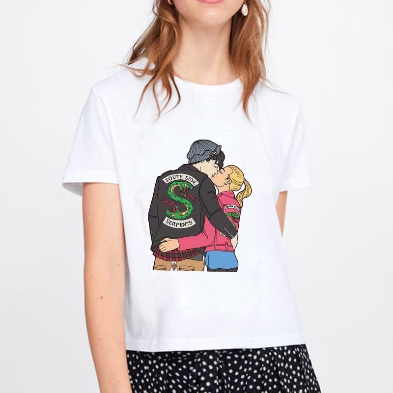 2019 Women T Shirt  Harajuku Top Summer Harajuku Tops South Side Serpents Female T-shirt Riverdale Snake Printed Funny Vintage