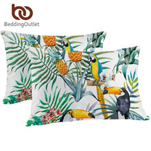 BeddingOutlet Toucan Pillowcase Tropical Plant Decorative Pillow Case Pineapple Print Pillow Cover Flower Bedding One Pair(China)
