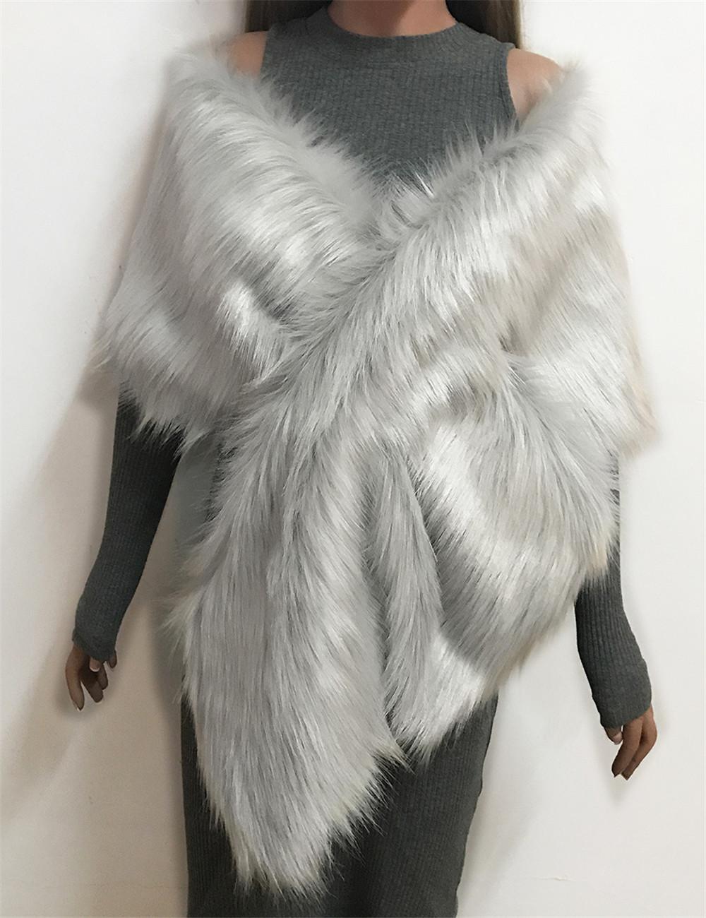 The autumn and winter new imitation fur big cape neck scarf multi-color joker scarf bride dress cross cape (3)