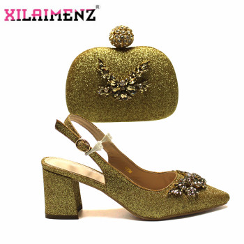 2020 Special Arrivals Italian Design Italian Women Shoes and Bag to Match in Golden Color Nigerian Lady Shoes and Bag Set