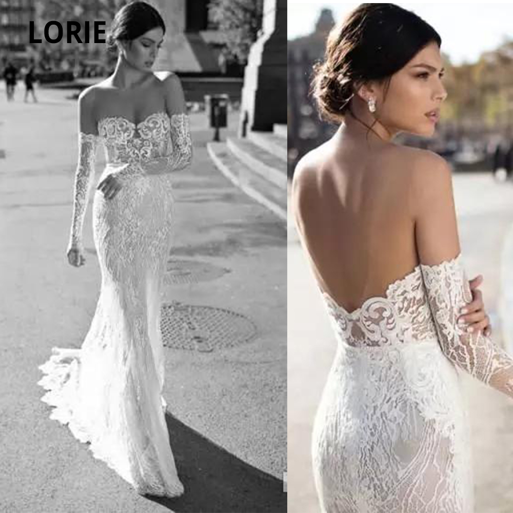 LORIE Off the Shoulder Long Sleeve Lace Wedding Dress Mermaid Vintage 2020 Sexy Open Back Beach Bridal Gowns Boho Wedding Gown