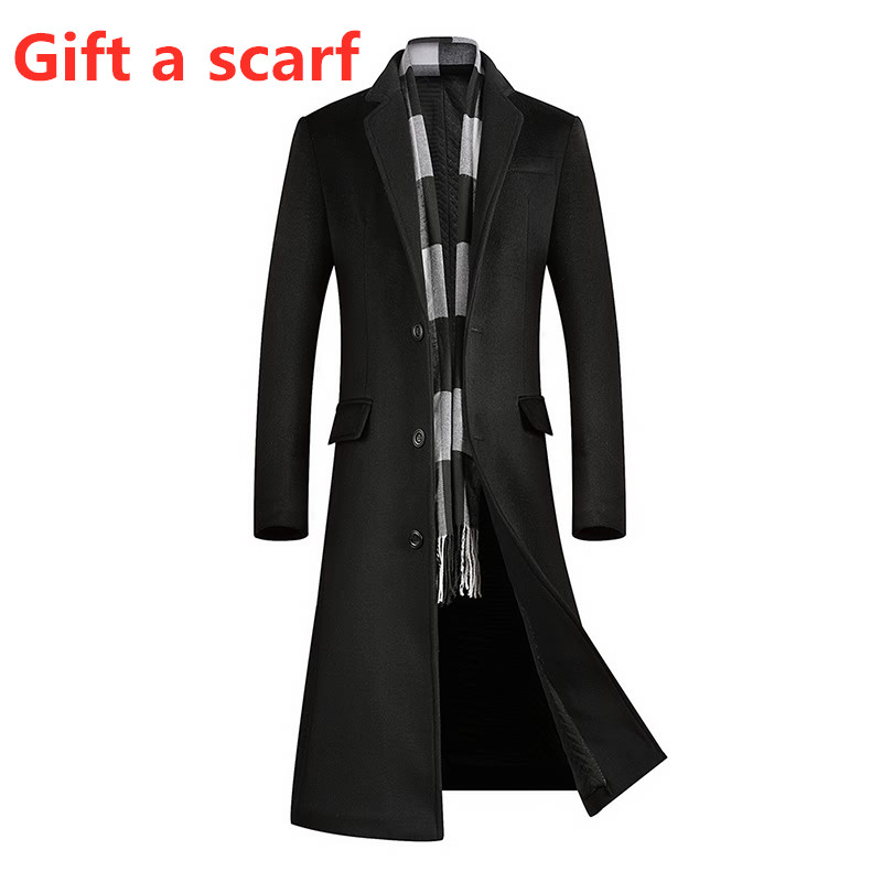 Men's Coat Long-Jacket Windbreaker Men Woolen Winter Below The-Knee title=