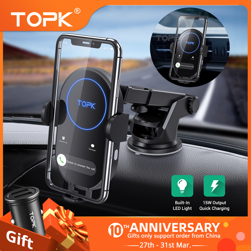 TOPK 15W Wireless Car Charger for iPhone 11 Induction Charger Fast Wireless Charger for Xiaomi Samsung S20 with Car Phone Holder title=