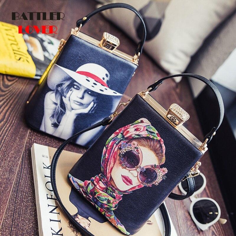 Vintage cartoon character pattern box leather ladies shoulder bag women casual totes handbag crossbody mini messenger bag purse