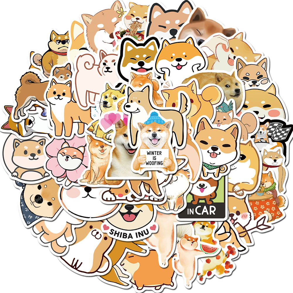50Pcs/Pack Cute Dog Shiba Inu Stickers For Laptop Phone Scrapbooking Craft Diary Album Label Decorative Stationery Sticker Decal