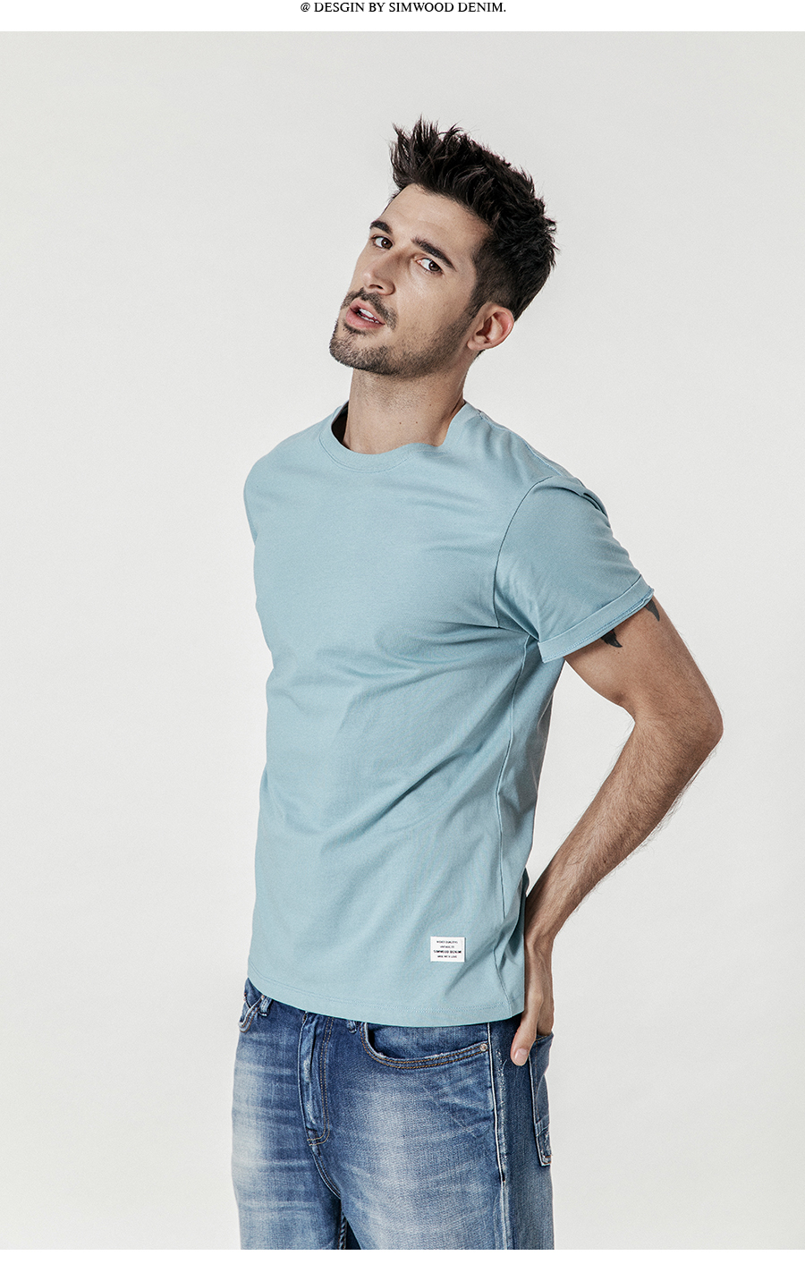 SIMWOOD 19 Summer New T-Shirt Men 100% Cotton Solid Color Casual t shirt Basics O-neck High Quality Plus Size Male Tee 190004 20