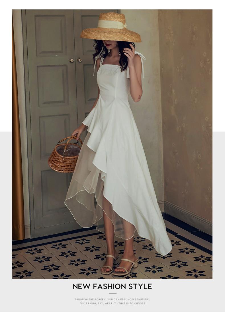H17280169f46642ef8a524322911d12cbi - Summer Thin Shoulder Straps Sleeveless Mesh Patchwork Ruffle Asymmetrical Dress
