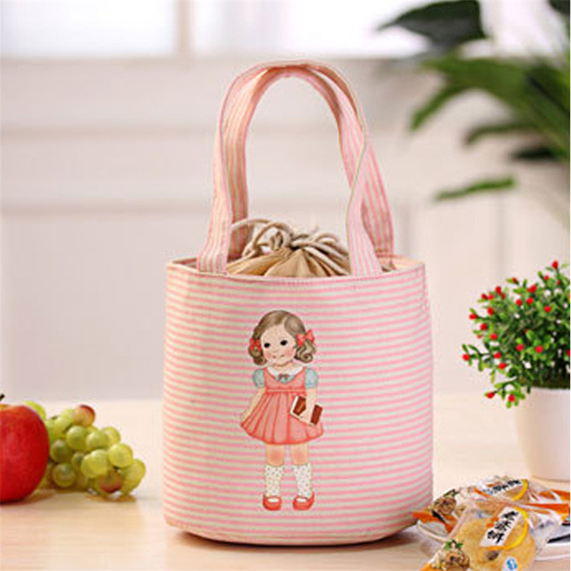 Little girl canvas practical portable insulation box simple tote bag cute insulation bag love lunch bag lunch storage box