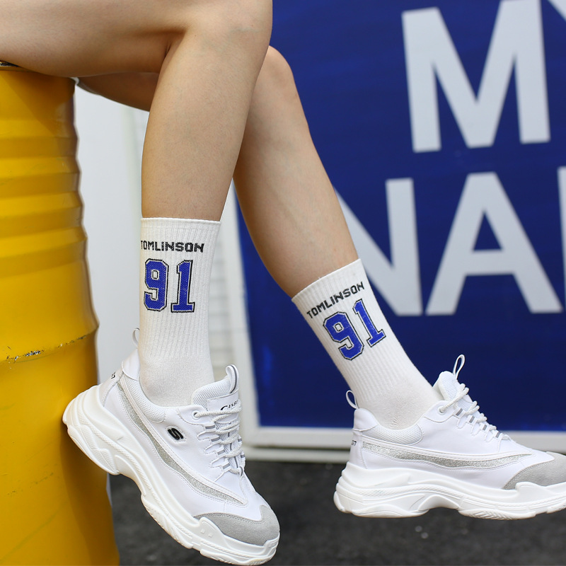 Korean Fashion Ins Socks Unisex Happy Letter Hip Hop College Style Tube Socks Basketball Street Harajuku Wind Couple Sports Sock
