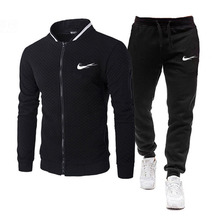 Tracksuit Men Sweatshirt Sportswear-Sets Hooded Men's Fashion 2piece Autumn Male Winter