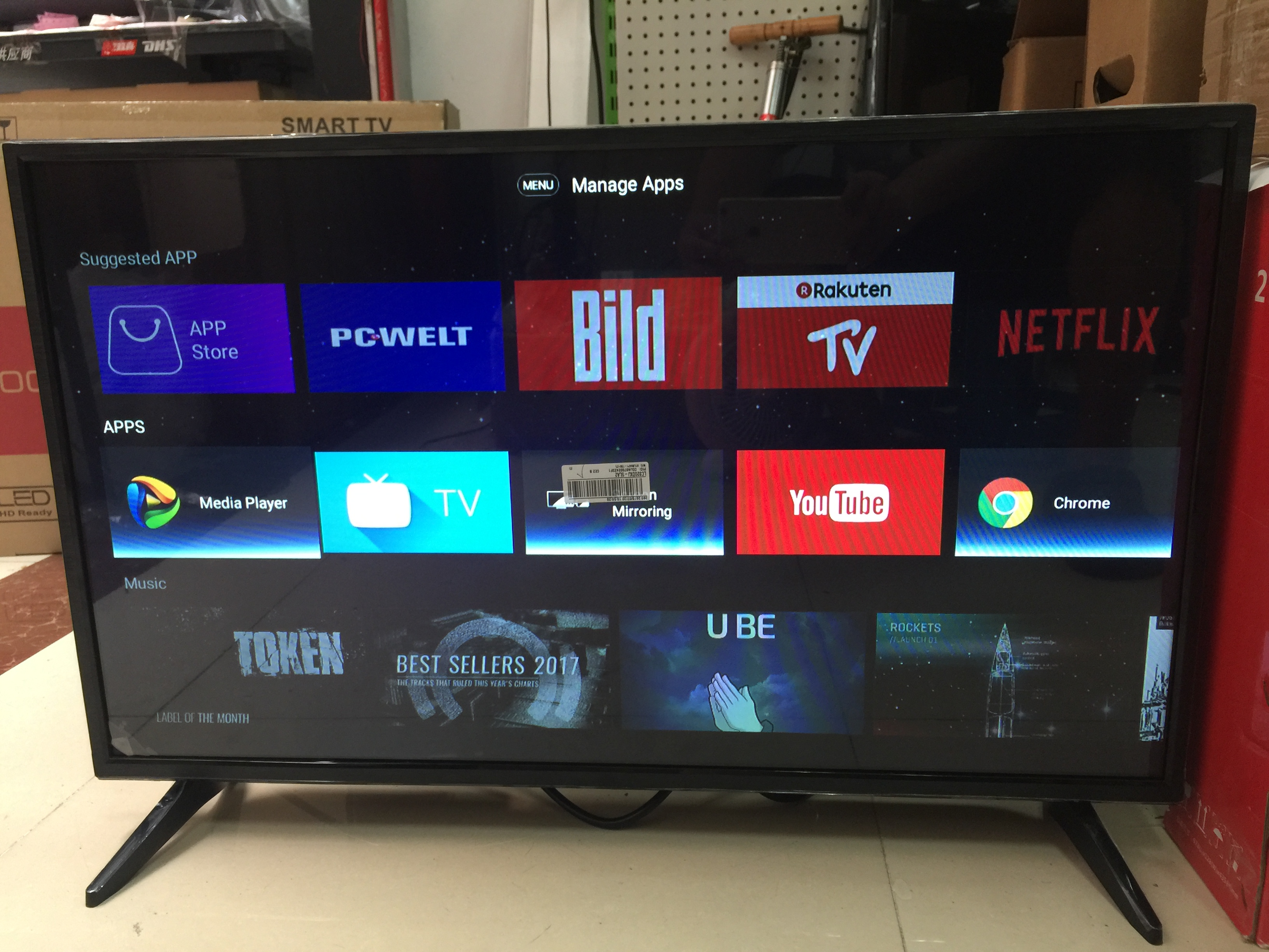 40'' inch grobal version youtube TV android OS 7.1.1 smart wifi internet LED 4K television TV & monitor