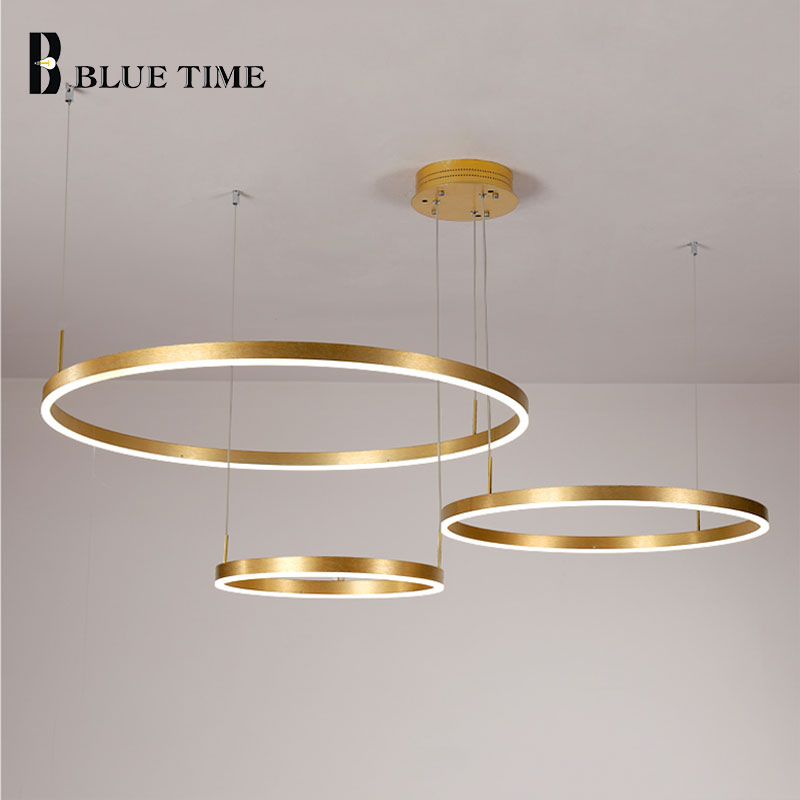 Modern Aluminum 100CM Rings Led Chandelier Lighting For Living room Dinning room Bedroom Hanging Lamp Lustre Indoor Chandelier