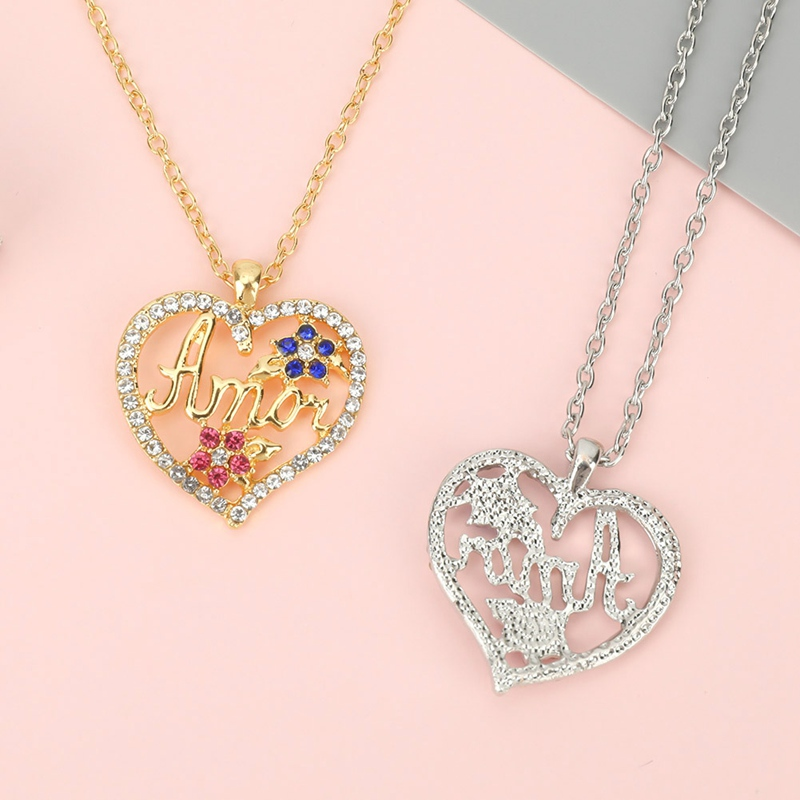 Thanksgiving Necklace For Monther Love Heart Mom Letters Pendent Necklaces Crystal Fashion Women Jewelry Proposal Mother