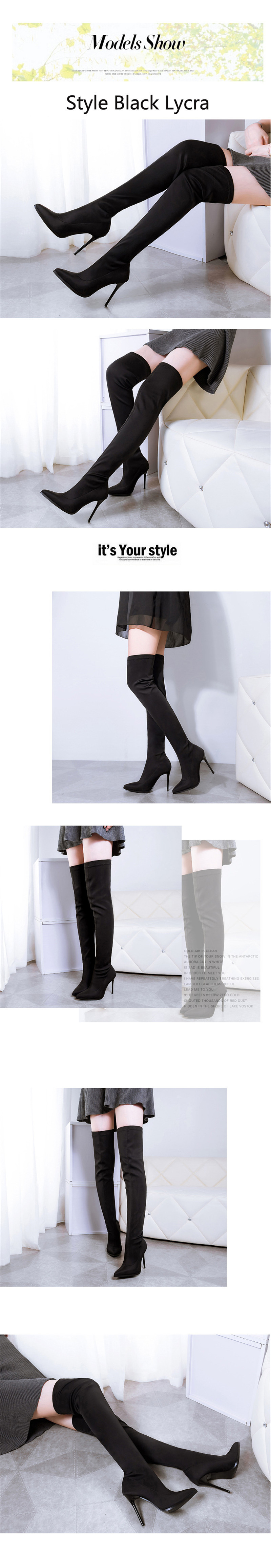 D Knight Sexy Pointed Toe Women Stiletto High Heel Over The Knee Boots Fashion Nightclub Stretch Women's Thigh High Boots Shoes (2)