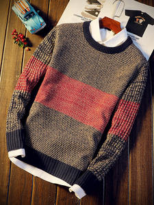 Sweater Jumper Pullovers O-Neck Youth Long-Sleeve Mixed-Color Trend Men Autumn Winter