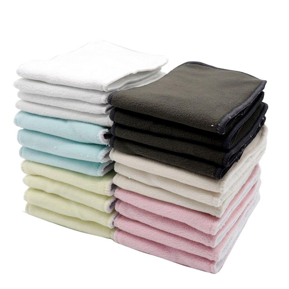 MABOJ 10pcs Diaper Insert Bamboo Charcoal Cotton Hemp One Size Cloth Diaper Insert Changing Mat Microfiber Nappy Liners Washable